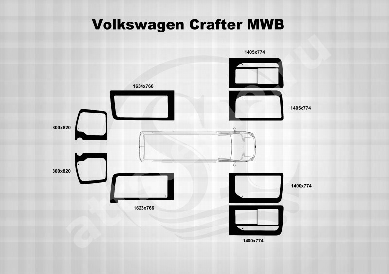 Автостекло на Mercedes Sprinter LWB / VW Crafter